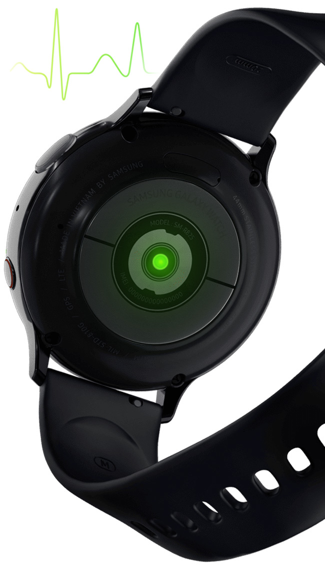 Galaxy Watch Active2 крупным планом и кардиограмма