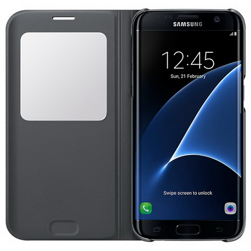 Чехол-книжка Samsung S View Cover черный, для Galaxy S7 Edge