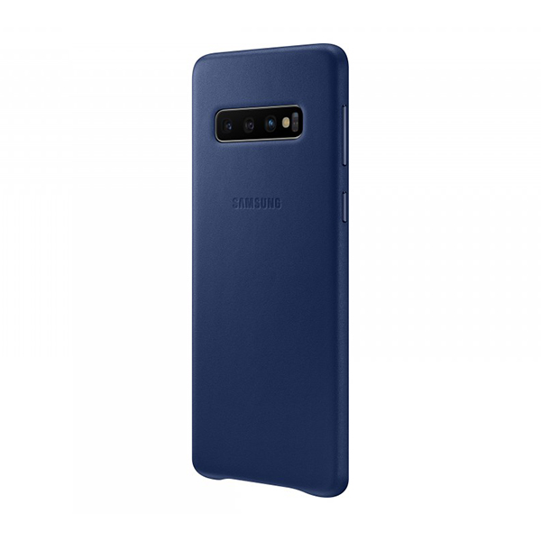 Чехол-накладка Samsung Leather Cover синий, для Galaxy S10
