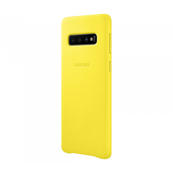 Чехол Samsung Leather Cover для Galaxy S10 желтый, кожа фото