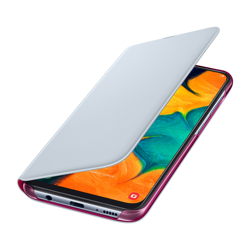 Чехол Samsung Wallet Cover белый, для Galaxy A30