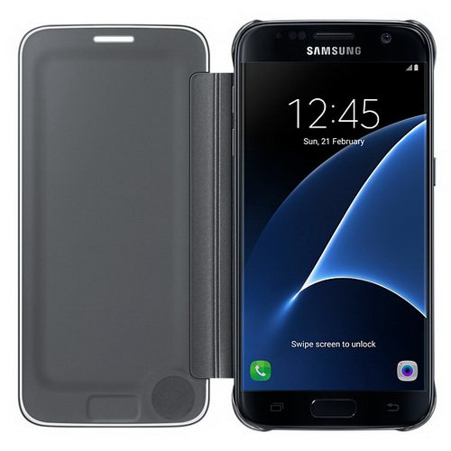 Чехол-книжка Samsung Clear View Cover черный, для Galaxy S7