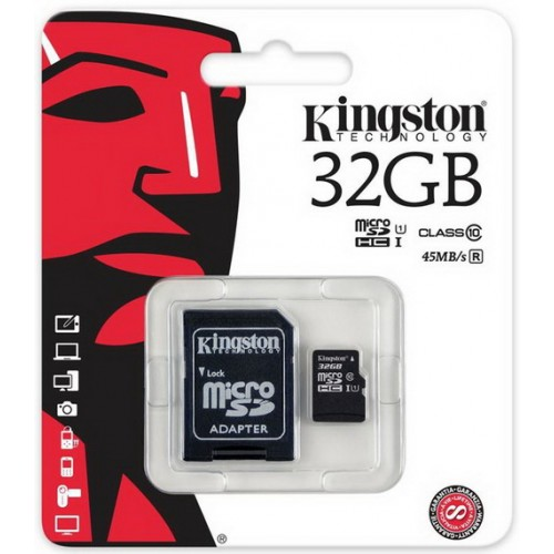 Карта памяти microSDHC 32Гб Kingston SDC10G2/32GB Class 10 UHS-1